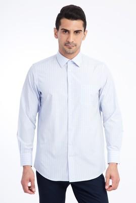 Erkek Giyim - Açık Mavi M Beden Uzun Kol Ekose Klasik Gömlek