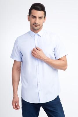 Erkek Giyim - Açık Mavi XXL Beden Kısa Kol Desenli Klasik Gömlek