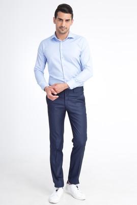 Erkek Giyim - Mavi 46 Beden Slim Fit Kuşgözü Klasik Pantolon