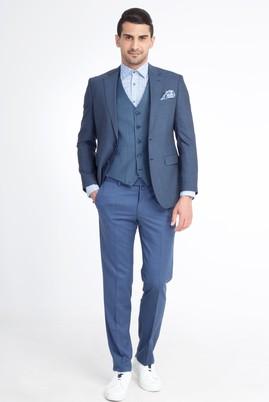Erkek Giyim - Petrol 46 Beden Slim Fit Yelekli Kombinli Takım Elbise