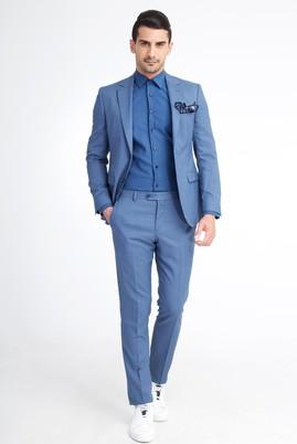 Erkek Giyim - Açık Mavi 50 Beden Slim Fit Kuşgözü Takım Elbise