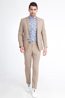 Erkek Giyim - Açık Kahve - Camel 50 Beden Slim Fit Kuşgözü Takım Elbise