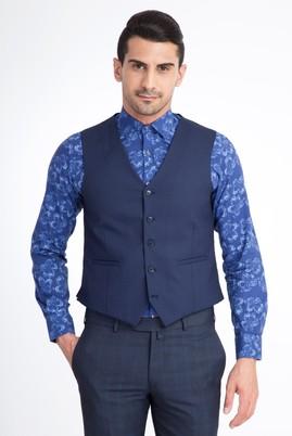 Erkek Giyim - Lacivert 54 Beden Kuşgözü Klasik Yelek