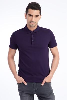 Erkek Giyim - Bordo L Beden Yarım İtalyan Yaka Slim Fit Tişört