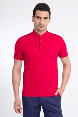 Erkek Giyim - Kırmızı S Beden Yarım İtalyan Yaka Slim Fit Tişört