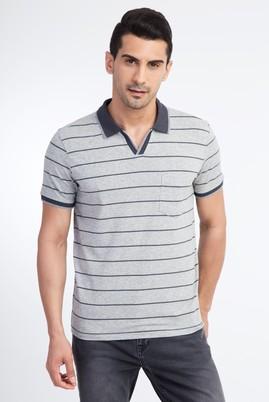 Erkek Giyim - Orta füme S Beden Regular Fit Çizgili Polo Yaka Tişört