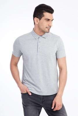 Erkek Giyim - Orta füme XXL Beden Yarım İtalyan Yaka Slim Fit Tişört