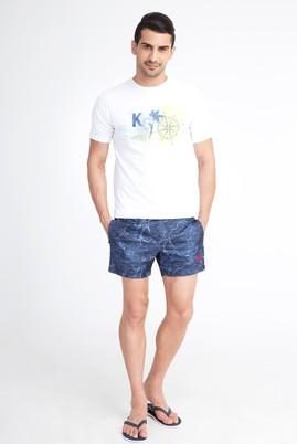 Erkek Giyim - Lacivert 60 Beden Desenli Deniz Şortu