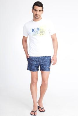 Erkek Giyim - KOYU MAVİ 52 Beden Desenli Deniz Şortu