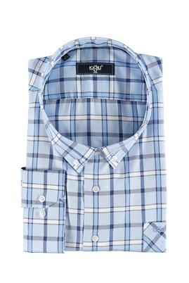 Erkek Giyim - Mavi 7X Beden King Size Uzun Kol Ekose Gömlek