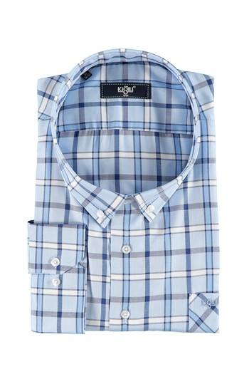Erkek Giyim - Büyük Beden Uzun Kol Ekose Gömlek