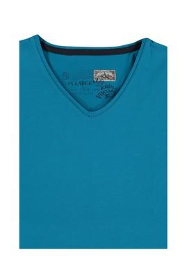Erkek Giyim - Petrol 4X Beden King Size V Yaka Tişört