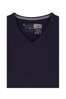 Erkek Giyim - Bordo 5X Beden King Size V Yaka Tişört