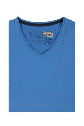 Erkek Giyim - Mavi 7X Beden King Size V Yaka Tişört