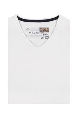 Erkek Giyim - Beyaz 6X Beden King Size V Yaka Tişört