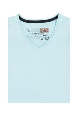 Erkek Giyim - Mavi 4X Beden King Size V Yaka Tişört