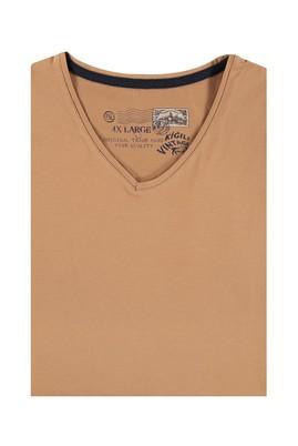 Erkek Giyim - Açık Kahve - Camel 4X Beden King Size V Yaka Tişört