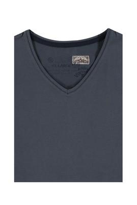 Erkek Giyim - Antrasit 4X Beden King Size V Yaka Tişört
