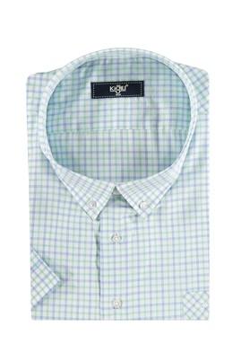 Erkek Giyim - Acık Yesıl 5X Beden King Size Kısa Kol Ekose Klasik Gömlek