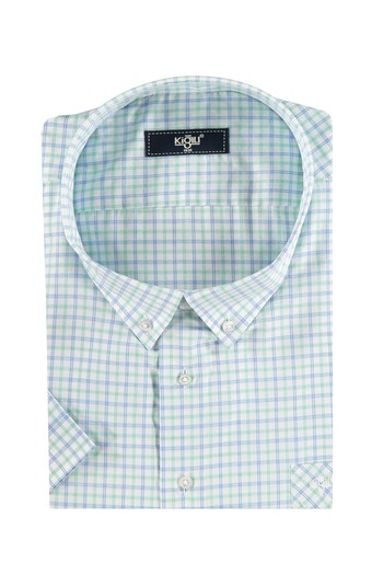 Erkek Giyim - King Size Kısa Kol Ekose Klasik Gömlek
