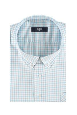 Erkek Giyim - Turkuaz 5X Beden King Size Kısa Kol Ekose Klasik Gömlek