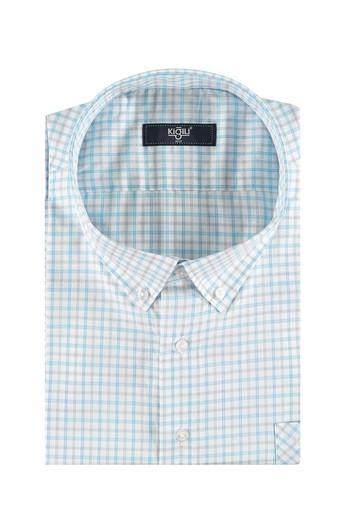 Erkek Giyim - Büyük Beden Kısa Kol Ekose Gömlek