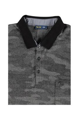 Erkek Giyim - Siyah 5X Beden King Size Polo Yaka Desenli Tişört