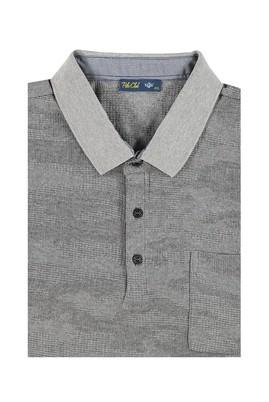 Erkek Giyim - Açık Gri 7X Beden King Size Polo Yaka Desenli Tişört