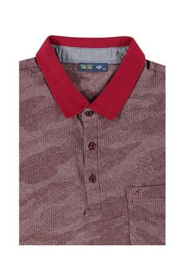 Erkek Giyim - Bordo 7X Beden King Size Polo Yaka Desenli Tişört
