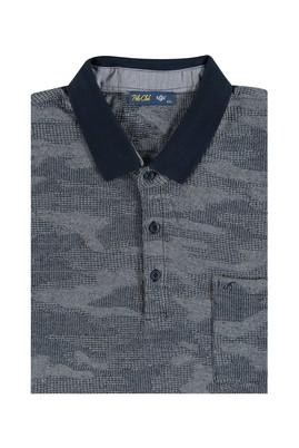 Erkek Giyim - Lacivert 6X Beden King Size Polo Yaka Desenli Tişört