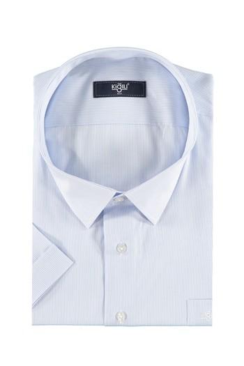 Erkek Giyim - Büyük Beden Kısa Kol Çizgili Gömlek