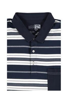 Erkek Giyim - Lacivert 5X Beden King Size Polo Yaka Çizgili Tişört