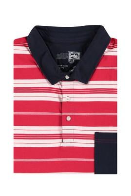 Erkek Giyim - Kırmızı 5X Beden King Size Polo Yaka Çizgili Tişört