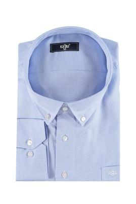 Erkek Giyim - Açık Mavi 6X Beden King Size Uzun Kol Desenli Gömlek