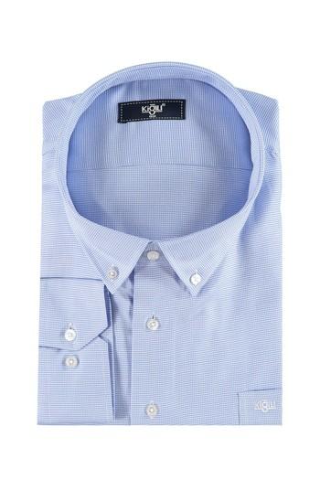 Erkek Giyim - King Size Uzun Kol Desenli Gömlek