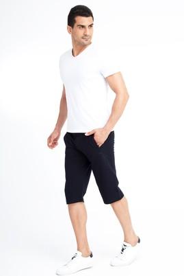 Erkek Giyim - Lacivert XL Beden Spor Capri Sweat Şort
