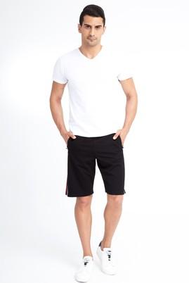 Erkek Giyim - Siyah M Beden Spor Baskılı Sweat Şort