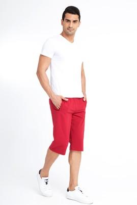 Erkek Giyim - Bordo M Beden Spor Capri Sweat Şort