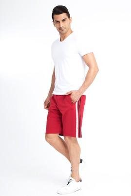 Erkek Giyim - Bordo XL Beden Spor Baskılı Sweat Şort
