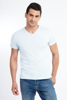Erkek Giyim - Mavi XL Beden V Yaka Slim Fit Tişört