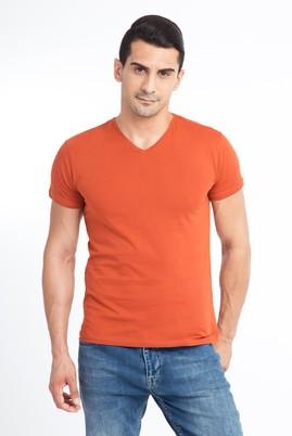 Erkek Giyim - KİREMİT XL Beden V Yaka Slim Fit Tişört