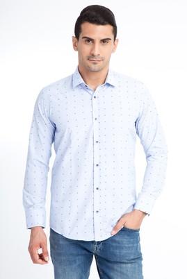 Erkek Giyim - Mavi S Beden Uzun Kol Desenli Slim Fit Gömlek