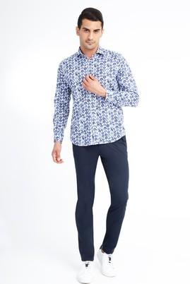 Erkek Giyim - Lacivert 52 Beden Slim Fit Saten Spor Pantolon