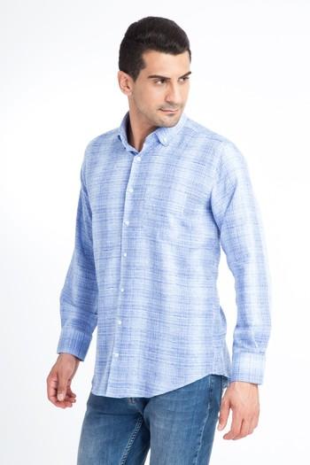 Erkek Giyim - Uzun Kol Regular Fit Çizgili Gömlek