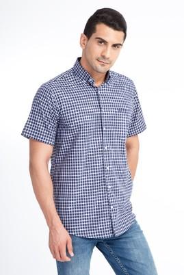 Erkek Giyim - Lacivert 4X Beden Kısa Kol Ekose Klasik Gömlek