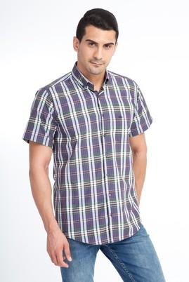 Erkek Giyim - Lacivert 3X Beden Kısa Kol Ekose Gömlek