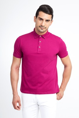 Erkek Giyim - Pembe XXL Beden Regular Fit Polo Yaka Tişört