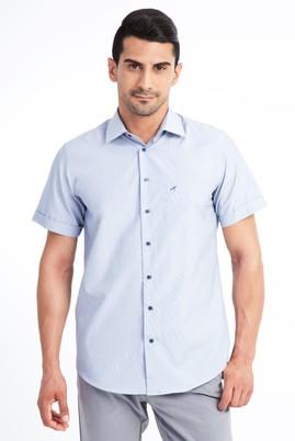 Erkek Giyim - Beyaz XL Beden Kısa Kol Mavi Çizgili Gömlek