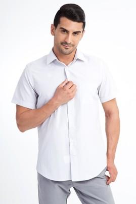 Erkek Giyim - Beyaz S Beden Kısa Kol Gri Çizgili Gömlek
