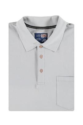Erkek Giyim - Açık Gri 4X Beden King Size Polo Yaka Tişört